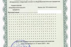 Оборотная сторона Свидетельства о результатах ЕГЭ