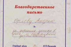 Благодарственное письмо за хорошие успехив в учёбе и спортивные достижения